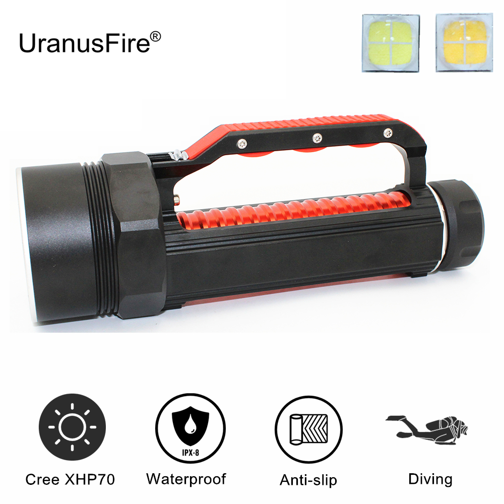 Diving Flashlight 4000 Lumen Cree XHP70 LED White/Yellow Light Scuba Dive Light Underwater Waterproof Torch 26650 Lamp