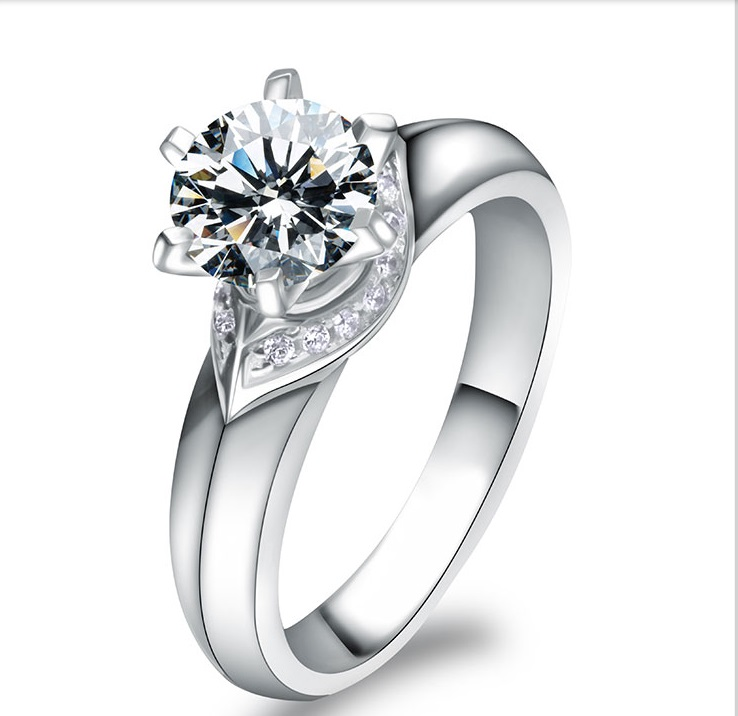 Awesome Pretty 1Ct Synthetic Diamonds Female Ring Real 925 Sterling Silver Ring White Gold Color Engagement