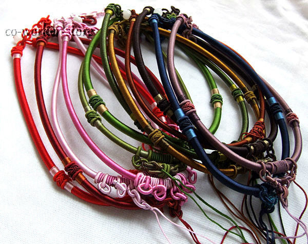 FREE SHIPPING>>>@@ silk thread knot cord hand-knotted chain pendant necklace (adjustable) 10pcs