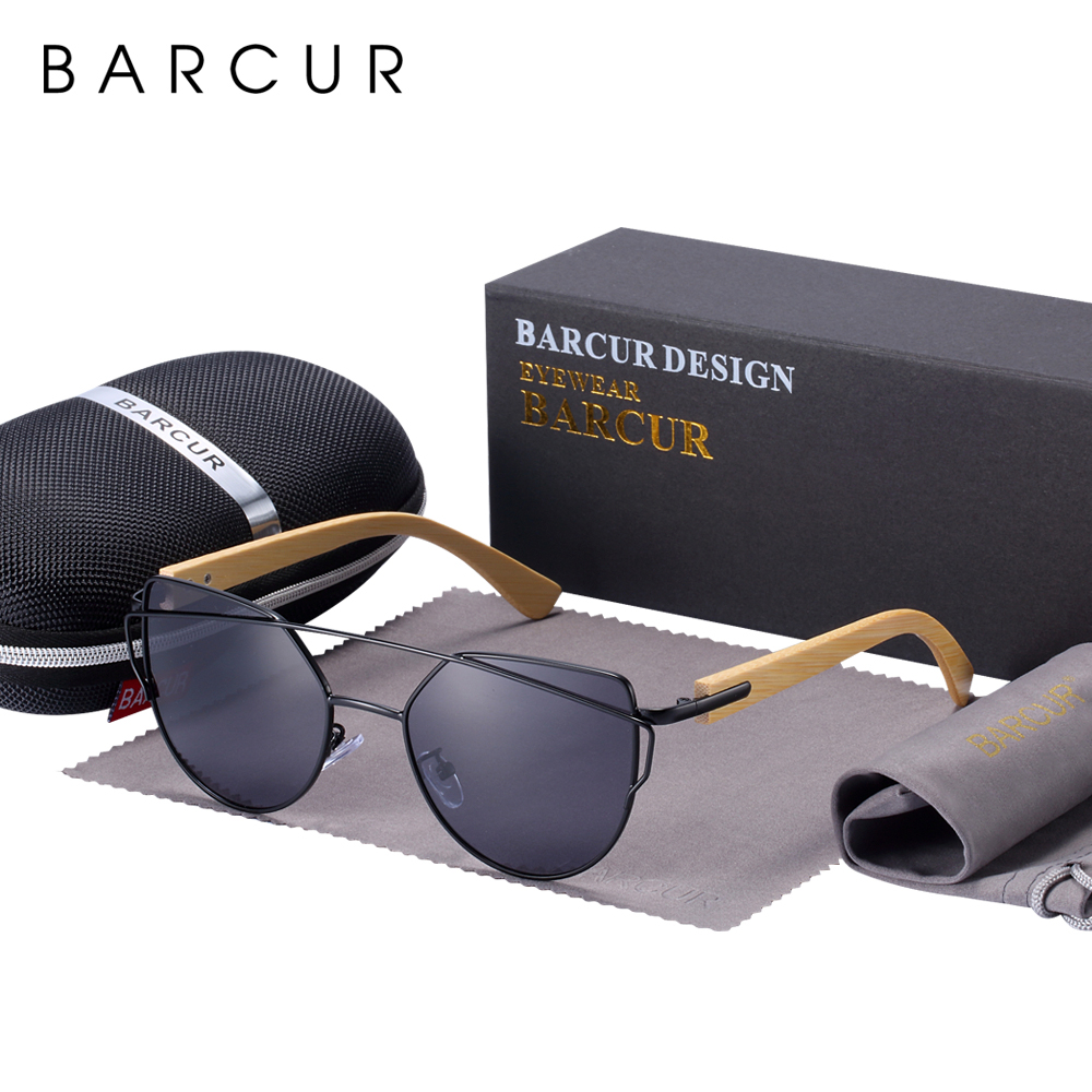 Женские солнцезащитные очки BARCUR, высококачественные поляризационные очки в стиле кошачий глаз