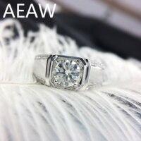 100% 14K Au750 Gold Round Cut Brillant Moissanite Diamond Man Ring D Color VVS
