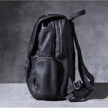 AETOO Head cowhide Double Shoulder bag male handmade large capacity leather backpack casual bag