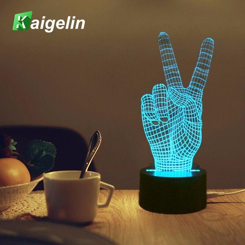 3D Night Light Victory Hand Shape 7 Colors USB Charging LED Table Lamp Touch Sensor Table Luminaria Atmosphere LED Desk Lamp 3d table lamp luminaria led night light