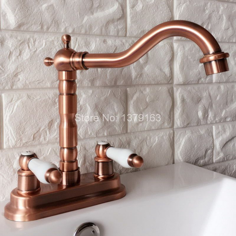 Antique Red Copper 4 Centerset Brass Kitchen Bathroom Vessel Sink Two Holes Basin Swivel Faucet Dual Handles Water Tap arg043 antique brass dual cross handles swivel kitchen bathroom sink basin faucet mixer taps anf003