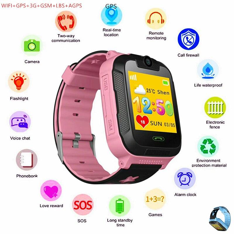 Enfants montres intelligentes Wifi GPS 3G GSM filles garçon caméra horloge Nano carte Sim LBS Mobile Smartwatch Fitness podomètre Bracelet poignet