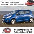 Para Chevrolet Spark 1997 ~ 2015/Car Bumper Lip/inferior Del Cuerpo Kit/Delantero/Trasero Falda Alerón/Deflector de Parachoques De Goma tira