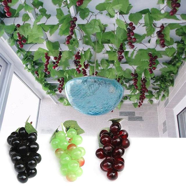 Bunch Lifelike Artificial Grapes Plastic Fake Decorative Fruit Food Home Decor LS