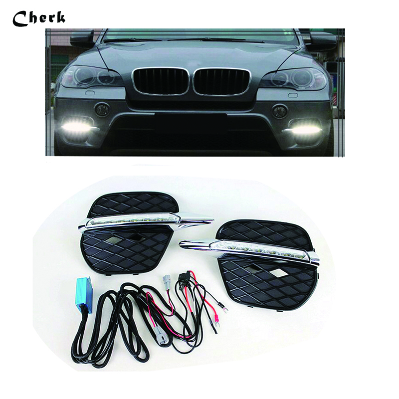 Headlight For BMW X5 E70 2011 2012 2013 LED Daytime Running Light Driving Fog Lamp DRL car styling Waterproof Daylight 2PCS dongzhen 1 pair daytime running light fit for volkswagen tiguan 2010 2011 2012 2013 led drl driving lamp bulb car styling