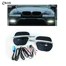 Headlight For BMW X5 E70 2011 2012 2013 LED Daytime Running Light Driving Fog Lamp DRL car styling Waterproof Daylight 2PCS