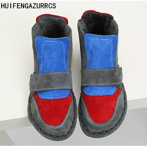HUIFENGAZURRCS-New Pure handmade Short boots,autumn plus velvet warm boots, Japan Department of female big head doll color boots huifengazurrcs new 2018 head layer