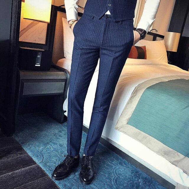 Полосатые штаны мужские Мотобрюки вечернее свадебное платье Серый Брюки Slim Fit синий мужские Бизнес Мотобрюки Calca социальных
