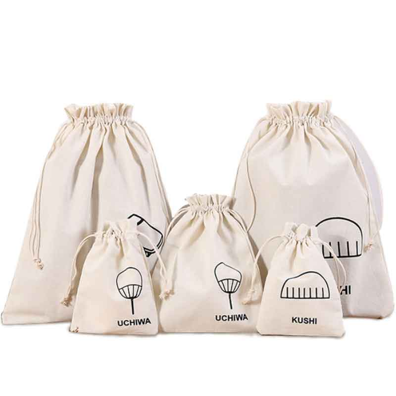 100pcs Wholesale Custom Logo Size With Your Logo Printed Natural Cotton Drawstring Shopping Bags For Clothes, For Ads, For Kids