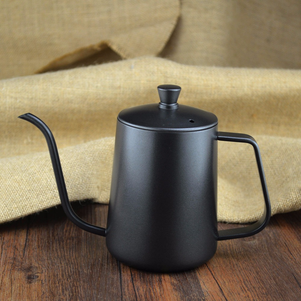 600ML Stainless Steel Teflon Pouring Kettle & Coffee Server Long Narrow Spout Drip Coffee Pot