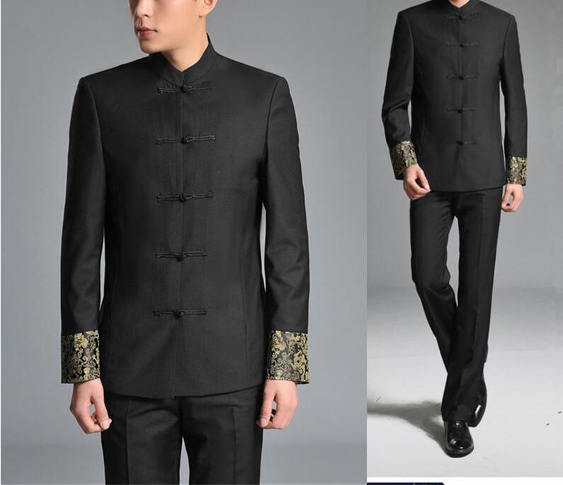 US $51.86 9% OFF 2 sztuk kurtka + spodnie chiński tunika garnitury mężczyźni stoją kołnierz czarny garnitur męski szczupła zużycie szkoła mężczyźni