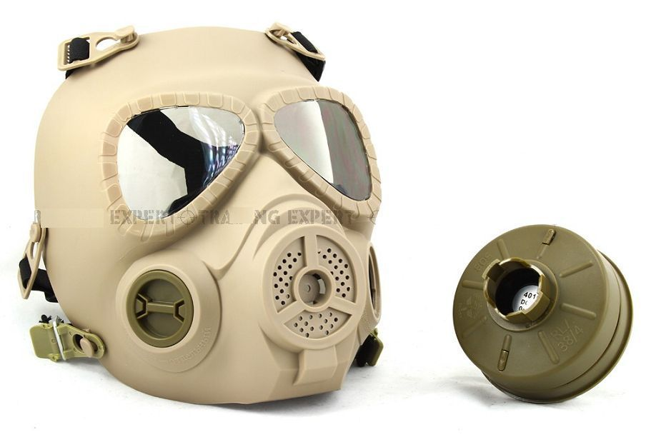 Airsoft Party Mask Anti Fog Full Face Protection Gas Mask Style Turbo Fan System MO4 TAN OD Face Mask