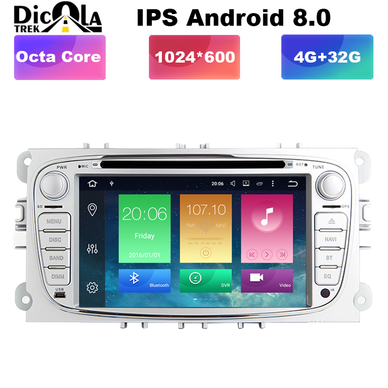 7 pouces Octa Core 1024*600 4G + 32G android 8.0 dvd de voiture pour focus ford mondeo ford kuga ford S-MAX c-maxcar radio