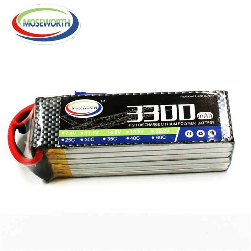 все цены на MOSEWORTH RC Airplane lipo battery 22.2v 3300mAh 30C For rc quadcopter drone batteria cell free shipping онлайн