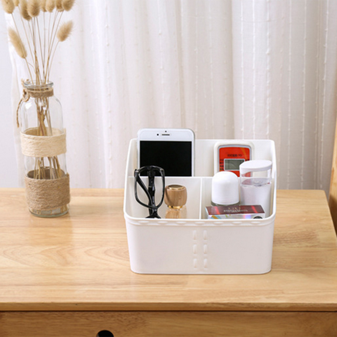 iTECHOR Square Shape Desk Top Storage Box Household Plastic Organizer Box for Home Office Storage Boxes Bins