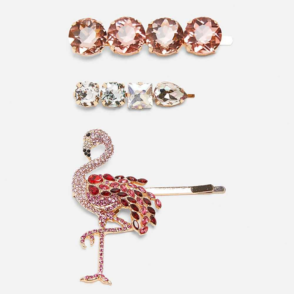 Dvacaman ZA New Animal Bird Hair Clip Pins for Women Girls Pink Crystal Bobby Pins Baby Wedding Party Hair Accessories Jewelry