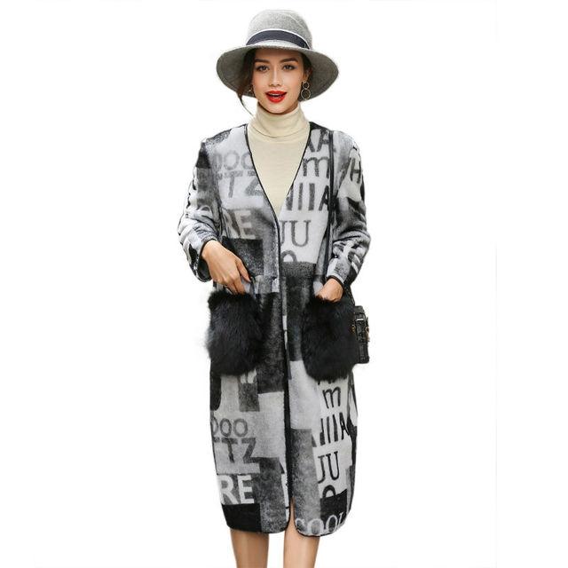 2017 Nuevo Patrón de la Letra de Ambos Lados Largos Abrigos Para Mujer Parka Abrigos de Cuero de Oveja de Cuero con piel de Zorro Real Bolsillos LX00911