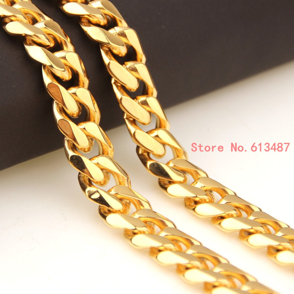 Wholesale Jewelry Gold Filled Us 5 39 10 Off 8mm Personalized Curb Cuban Gold Filled Necklace Boys Mens Chain Necklace Wholesale Jewelry 7