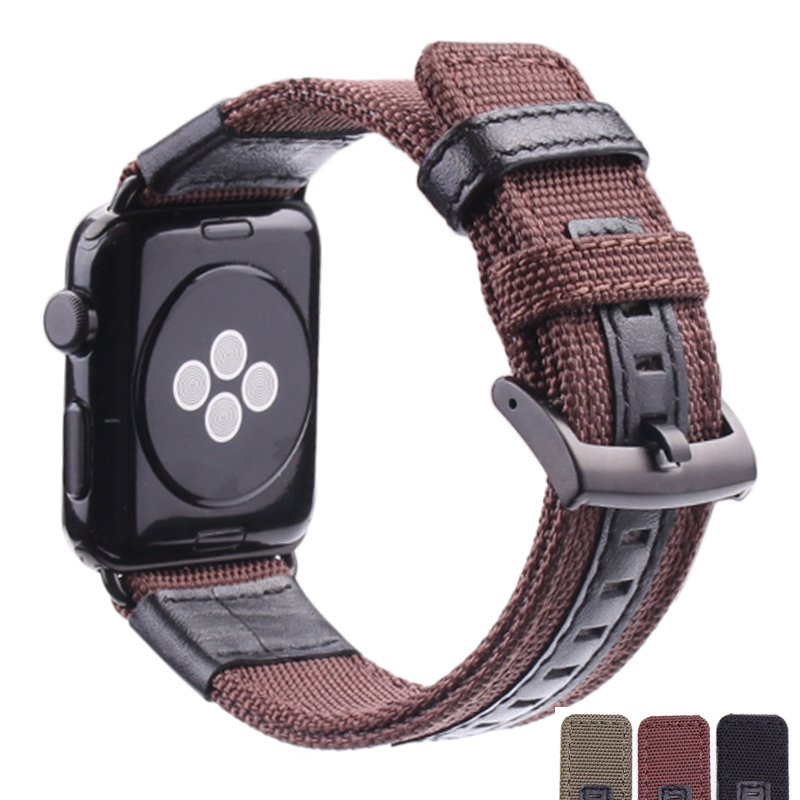 HENGRC Nylon Watch Band For Apple Watch Bands 42mm 38mm Bracelet For Men Canvas Fabric Sport iwatch Watchband 1pcs canvas fabric nylon watch straps bands black army green brown gray striped replace wristwatch bracelet width 20mm