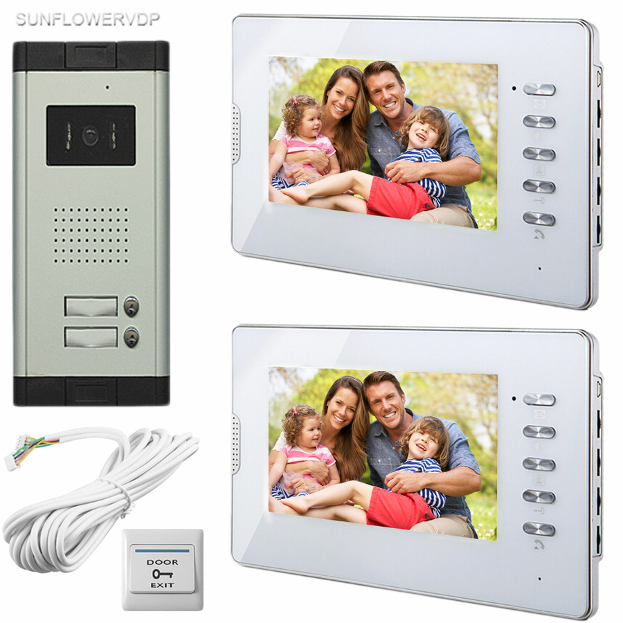 SUNFLOWERVDP Wired Intercom For Private House 2 Units 7 Home Phone 700TVL Infrared Night Vision CCD Camera Doorphones In Stock! xeltek private seat tqfp64 ta050 b006 burning test