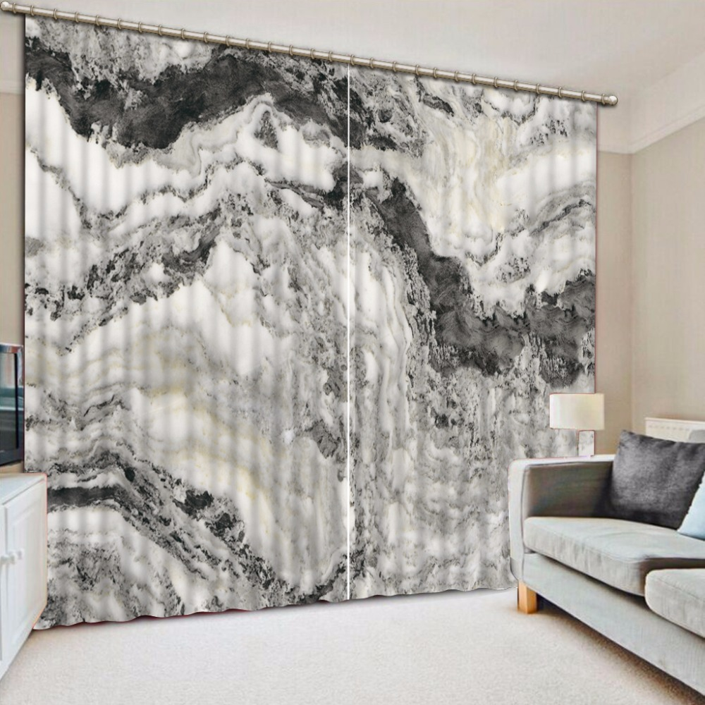 3D Curtain Fashion Customized Black And White Pattern ...
