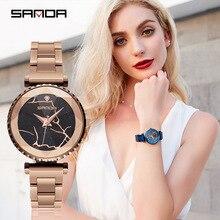 2019 quartz wrist watches for women stylish Purple blue black rose gold stainless steel watch luxury female watch waterproof все цены