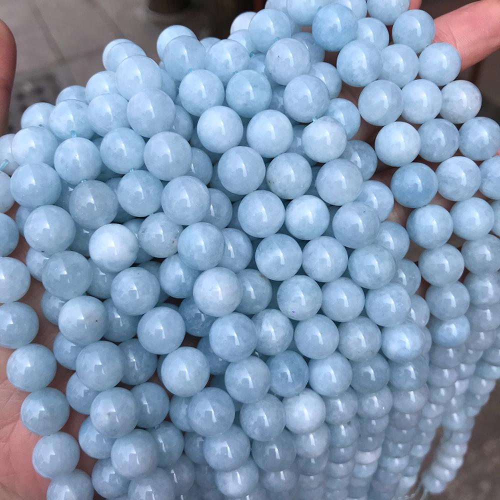 Natural Stone Aquamarine Round Loose Spacer Beads   15