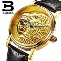 Швейцария БИНГЕР часы Мужчины 3D головы орла дизайн автоматические часы Сапфир ремень из натуральной кожи механические наручные часы