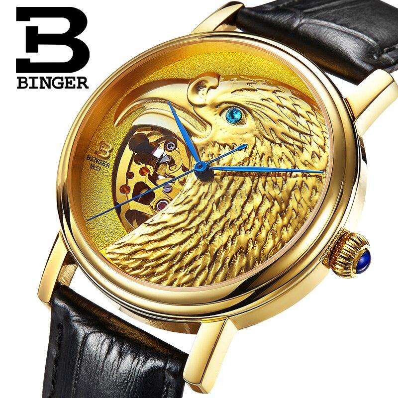 Suisse BINGER montres hommes 3D aigle tête conception automatique montre saphir véritable bracelet en cuir montres mécaniques