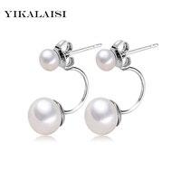 2016 Fashion Pearl Earrings Pearl For Women Jewelry Of Silver Oblate Double Pearl Earrings Silver Earrings