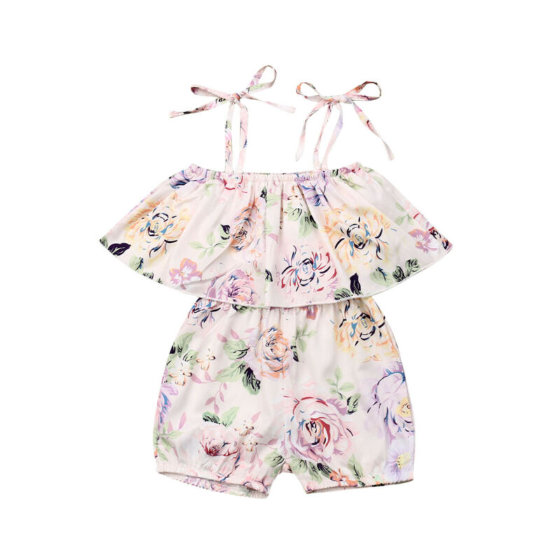 Summer Sleeveless Romper Girls Kids Baby Shorts Jumpsuit Floral Clothes Outfits