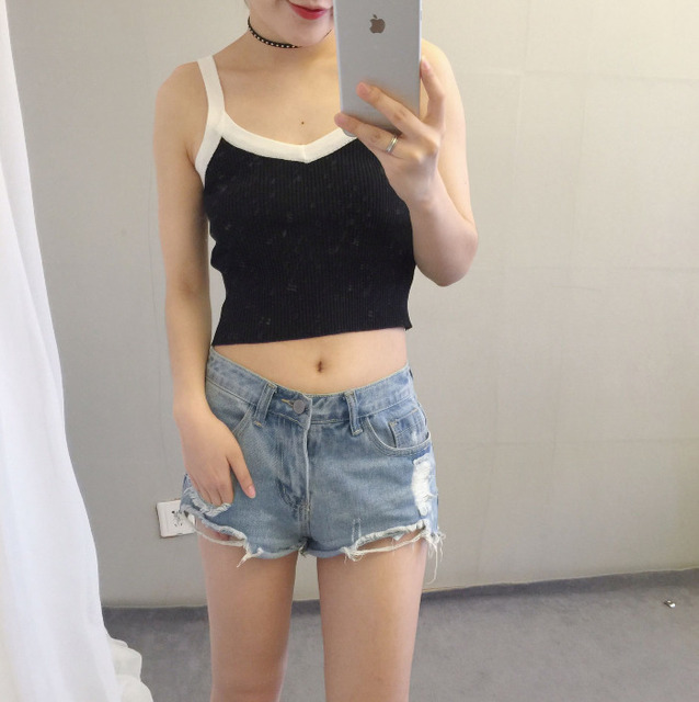Primavera verão preto e branco de malha camis camisa sem mangas alcinhas top curto mulheres camiseta camisole debardeur femme