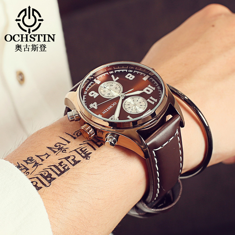 OCHSTIN Luxury Fashion Brand Watch Men Waterproof Leather Male Quartz Watch Man Relogio Masculino Esportivo Hodinky