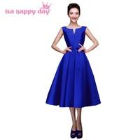 womens elegant dress for party dresses formatura sexy o neck ivory and blue tea length prom dresses 2018 new arrival H2643