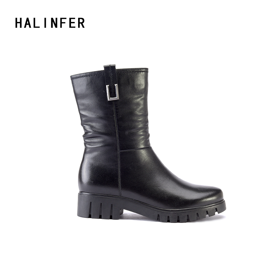 HALINFER genuine leather ankle basic boots shoes women round toe zipper 2018 spring autumn fashion high heels ladies boots 2018 new arrival genuine leather zipper runway autumn winter boots round toe high heels keep warm elegant women ankle boots l29