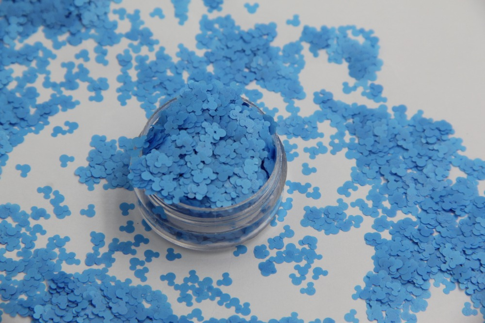 Solvent resistant - Neon Blue Color Mickey Mouse shape Confetti Spangles for Nail Polish and DIY decoration 1Pack =50g