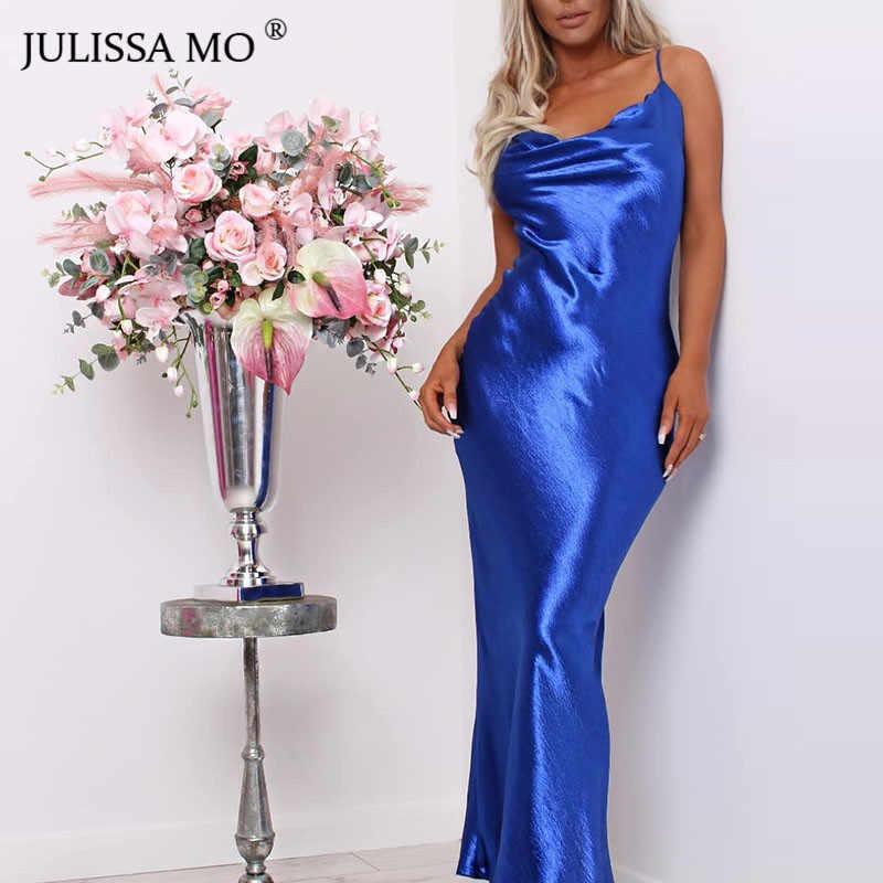 JULISSA MO 섹시한 스파게티 스트랩 Backless 여름 드레스 여성 새틴 레이스 업 트럼펫 롱 드레스 우아한 Bodycon 파티 드레스 2019