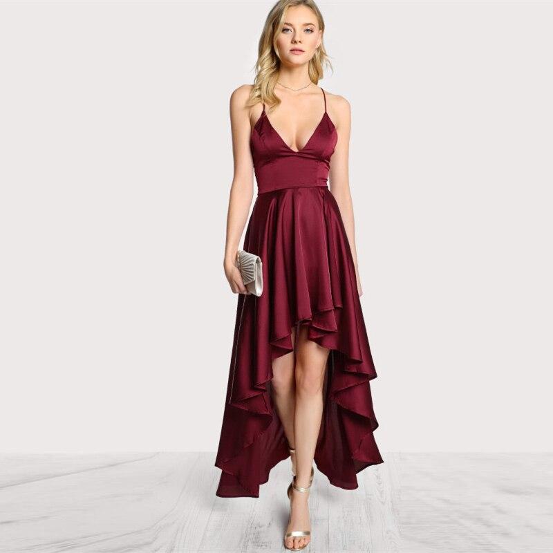 Deep V Neck Spaghetti Strap Sleeveless Asymmetrical Crisscross Backless High Low Dress