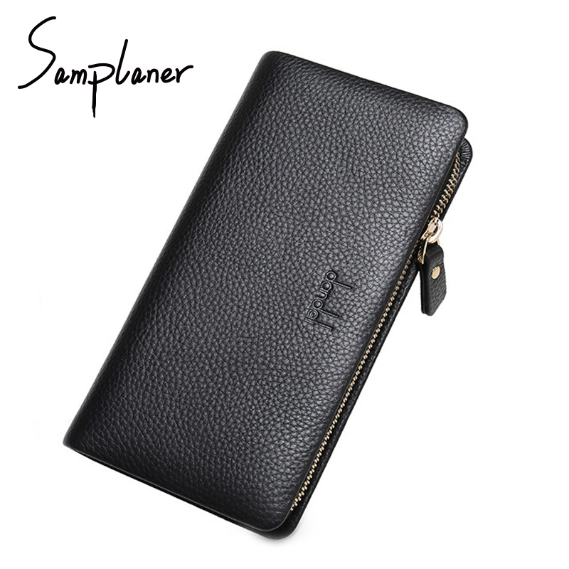 Famous Brands Genuine Leather Long Men Wallets Clutch Business Logo Mens Wallet Handbag Large Capacity Male Purse Card Holders banlosen brand men wallets double zipper vintage genuine leather clutch wallets male purses large capacity men s wallet