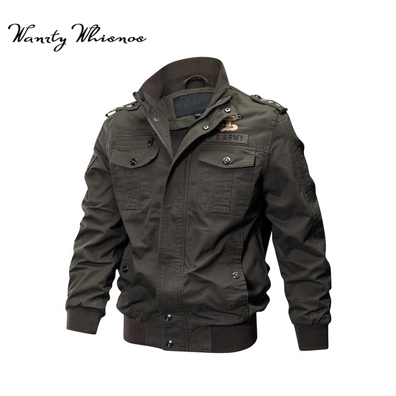 0298be700 US $37.96 42% OFF|Wholesale Military Pilot Jackets Men Winter Autumn Bomber  Cotton Coat Tactical Army Jacket Male Casual Air Force Flight Jacket-in ...