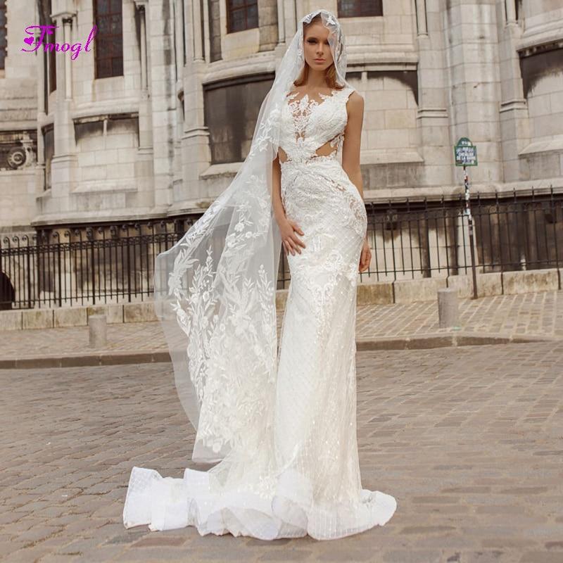Fsuzwel Design Sexy Backless O neck Lace Mermaid Wedding Dress 2019 Luxury Beaded Princess Bride Gown Vestido de Noiva Plus Size