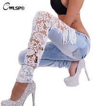 Модные женские сбоку джинсы с кружевом выдалбливают узкие джинсы женщина карандаш брюки лоскутные брюки для женщин женская одежда QL2143