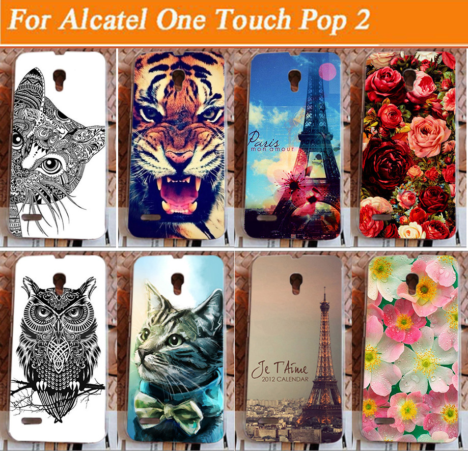 high quality diy colorful painted Cover Case FOR <font><b>Alcatel</b></font> One Touch Pop 2 7043A 7043Y <font><b>7043K</b></font> 7044 Premium LTE image