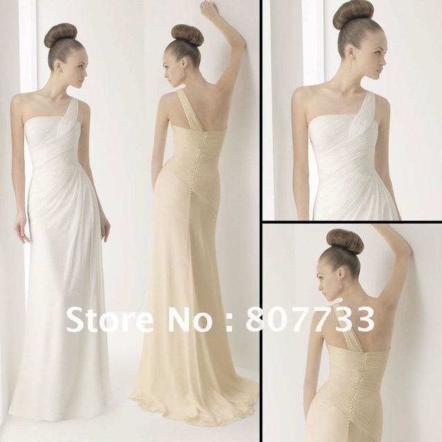 Free Shipping J0088 New 2017 Champagne White Ivory Pleated Chiffon One Shoulder Beach Bridal