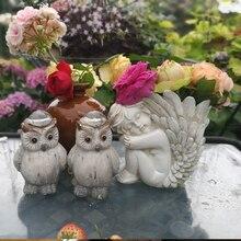 mini cute resin creative vintage angel flowers vase statue home decor Cupid craft room decoration garden pot figurine