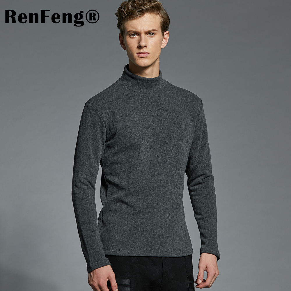 Men's Cotton Undershirts Underwear Long Sleeved Undershirt Spring Turtleneck Shirts Bodybuilding Solid Color Thermal Basic Shirt (5)