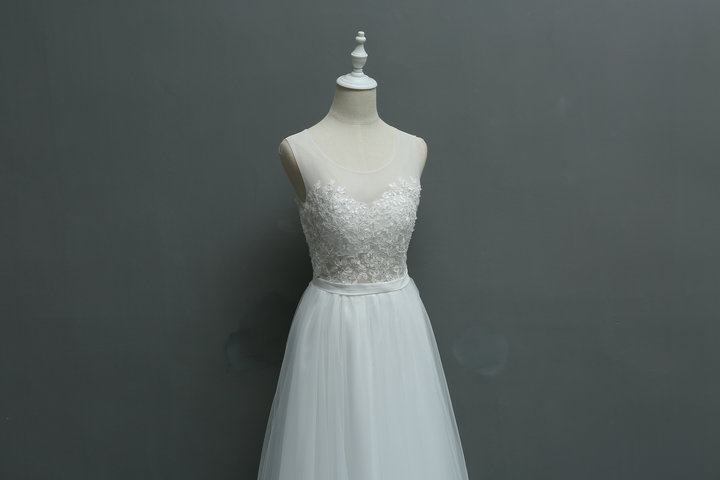 New Arrival Brief Fresh Exquisite Embroidery Lace Seaside Wedding Bridesmaid Dress/Wedding Photograph Dress 580 5